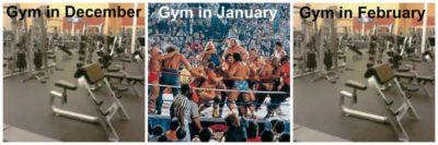 O sală de fitness în luna decembrie, goală. O sală de fitness în luna ianuarie, plină-ochi. O sală de fitness în luna februarie, goală.